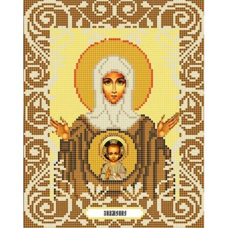 Богородица Знамение Канва с рисунком для вышивки бисером Божья Коровка 0061