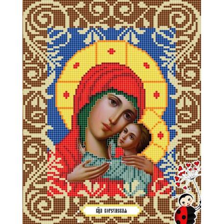 Богородица Корсунская Канва с рисунком для вышивки бисером Божья Коровка 0044