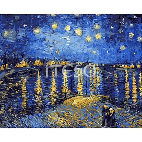 Звездная ночь над Роной (репродукция Ван Гога) Раскраска ...