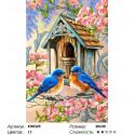 Птицы у скворечника Раскраска по номерам на холсте Molly