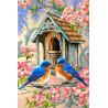 Птицы у скворечника Раскраска по номерам на холсте Molly KH0325