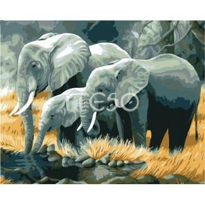Семья слонов Раскраска (картина) по номерам акриловыми красками на холсте Iteso