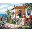 Живописный дворик Раскраска картина по номерам на холсте