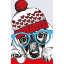 Модный пёс Раскраска картина по номерам на холсте