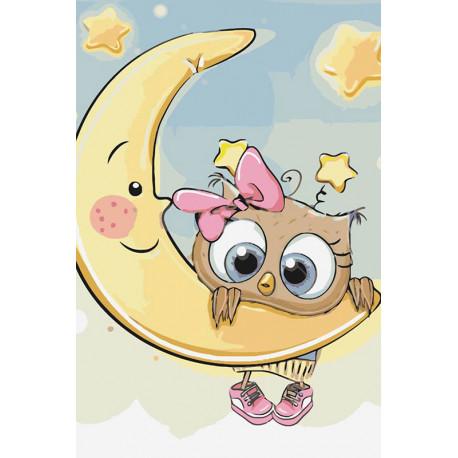 Малышка на луне Раскраска картина по номерам MC1082
