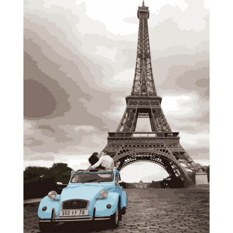 Кабриолет у башни Раскраска картина по номерам MG3254