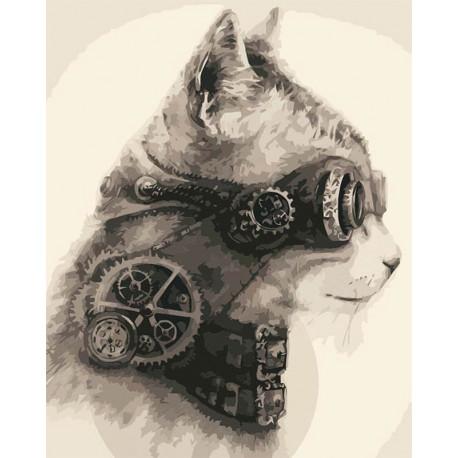 Стимпанк кот Раскраска картина по номерам MG2127