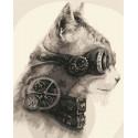 Стимпанк кот Раскраска картина по номерам на холсте
