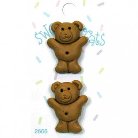 "Пуговицы ""Печенье Медвежонок Тедди"" 2 шт. на блистере, пластик, 32 мм, цена за блистер ."