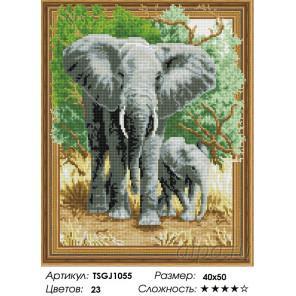 Количество цветов и сложность Слоны Алмазная вышивка мозаика на подрамнике 3D TSGJ1055