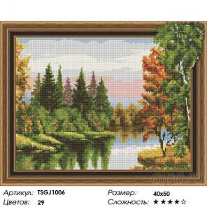 Количество цветов и сложность Лесное озеро Алмазная вышивка мозаика на подрамнике 3D TSGJ1006