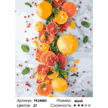 Сложность и количество цветов Цитрусовое настроение Раскраска картина по номерам на холсте PK24083