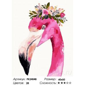 Сложность и количество цветов Портрет фламинго Раскраска картина по номерам на холсте PK24048