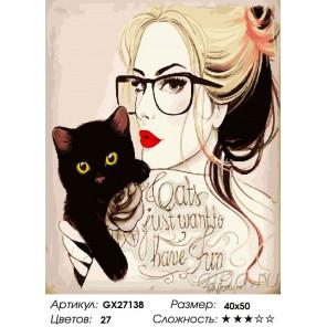 Сложность и количество цветов Блондинка с черным котёнком Раскраска картина по номерам на холсте GX27138