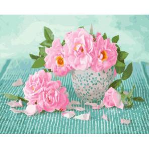 Розы в кружке Раскраска картина по номерам на холсте