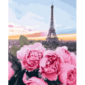 Состав набора Цветы в Париже Раскраска картина по номерам на холсте