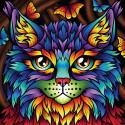 Радужный кот Алмазная вышивка мозаика АЖ-1753