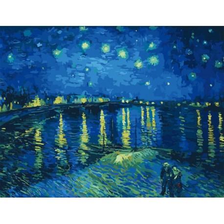 Звездная ночь над Роной (художник Ван Гог) Раскраска по ...