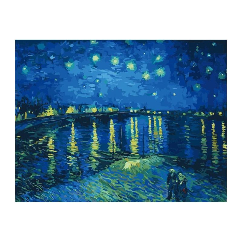 Звездная ночь над Роной (художник Ван Гог) Раскраска по ... Звездная Ночь над Роной Ван Гог