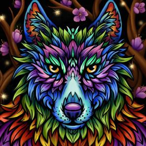 В рамке Радужный волк Алмазная вышивка мозаика АЖ-1754