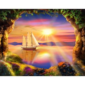Корабль на закате Алмазная вышивка мозаика АЖ-1765