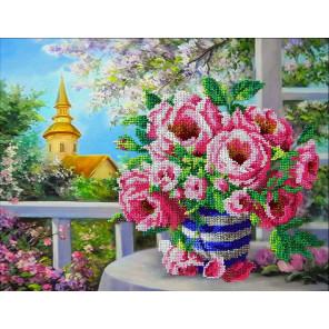 Розовый букет Набор для частичной вышивки бисером Паутинка Б-1280