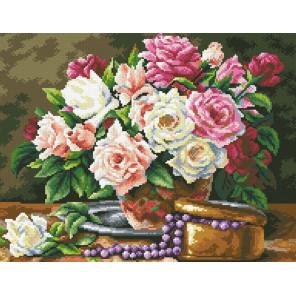 Розовый букет и бусины Алмазная мозаика вышивка Паутинка М-250
