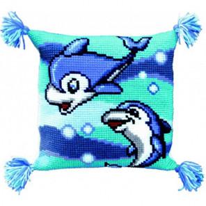 Дельфины Набор для вышивки подушки крестиком Чаривна Мить