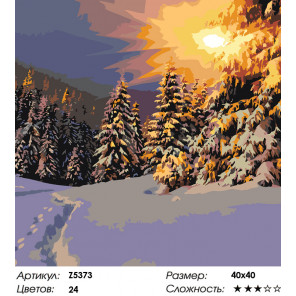 Количество цветов и сложность Зимний заккат Раскраска по номерам на холсте Живопись по номерам Z5373