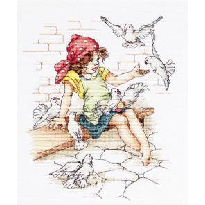 Девочка с голубями Набор для вышивания Luca-S B1051