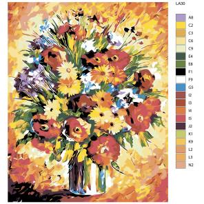 схема Цветы (репродукция Леонида Афремова) Раскраска по номерам на холсте Живопись по номерам