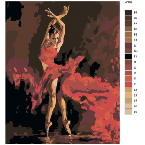 Раскладка Пламенный танец Раскраска по номерам на холсте Живопись по номерам