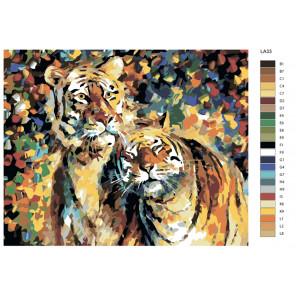 раскладка Тигры (художник Леонид Афремов) Раскраска по номерам на холсте Живопись по номерам