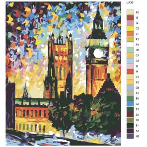 схема Разноцветное небо (художник Леонид Афремов) Раскраска по номерам на холсте Живопись по номерам