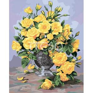 Золотые розы Раскраска по номерам ( Картина ) акриловыми красками на холсте Iteso