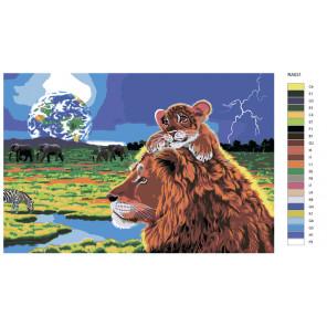Схема Король лев Раскраска по номерам на холсте Живопись по номерам