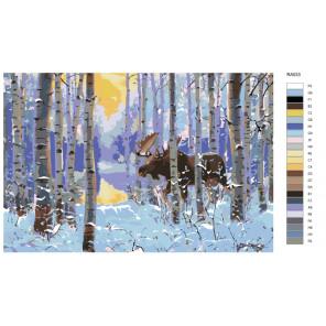 Раскладка Морозное утро Раскраска по номерам на холсте Живопись по номерам
