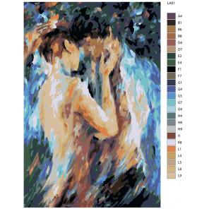 схема Поцелуй страсти (художник Леонид Афремов) Раскраска по номерам на холсте Живопись по номерам