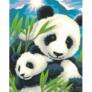 Панда с детёнышем Раскраска по номерам акриловыми красками на холсте Живопись по номерам