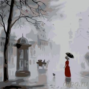 Раскладка Прогулка под дождем Раскраска картина по номерам на холсте AB06