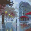 Раскладка Фонари в сумерках Раскраска картина по номерам на холсте AB08