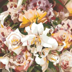Схема Розы и лилии Раскраска картина по номерам на холсте F14