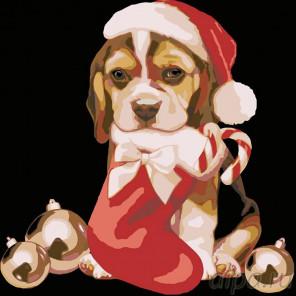 Схема Рождественский щенок Раскраска картина по номерам на холсте A176