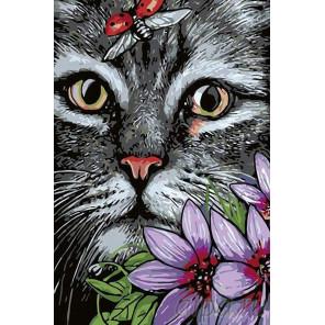 Котик Раскраска картина по номерам на холсте A164