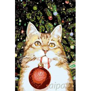Раскладка Новогодний котик Раскраска картина по номерам на холсте A175