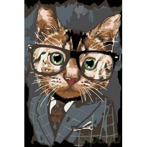 Кот в костюме Раскраска картина по номерам на холсте A178