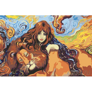 Девушка со львом Раскраска картина по номерам на холсте RA040