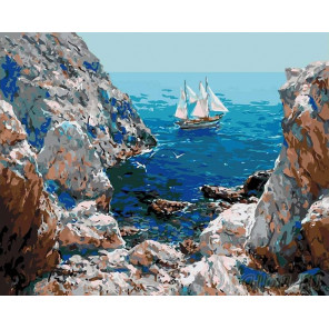 Путешествие на паруснике Раскраска картина по номерам на холсте KRYM-CR09