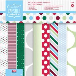 Spots & Stripes Festive Набор бумаги 15х15см для скрапбукинга, кардмейкинга Docrafts