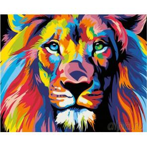 Радужный лев Раскраска картина по номерам на холсте PA03